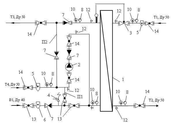 Тепловая схема блочного автоматизированного теплового пункта горячего водоснабжения батп-гвс/В-360.